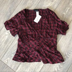 NWT Red and Black Plaid Blouse
